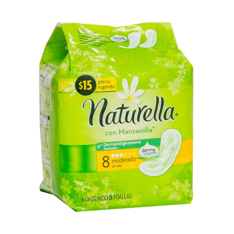 Naturella Manzanilla Sin Alas Toalla Sanitaria 1 Bolsa 8 Piezas