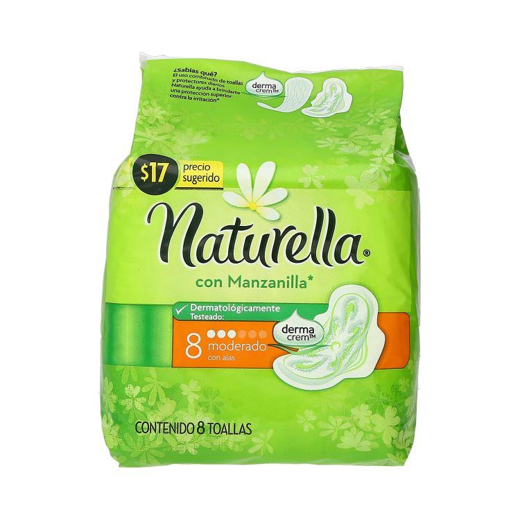Naturella Manzanilla Con Alas Toalla Sanitaria 1 Bolsa 8 Piezas